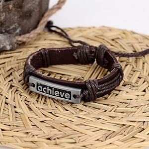 ACHIEVE Vintage Leather Hand Woven Rope Bracelet